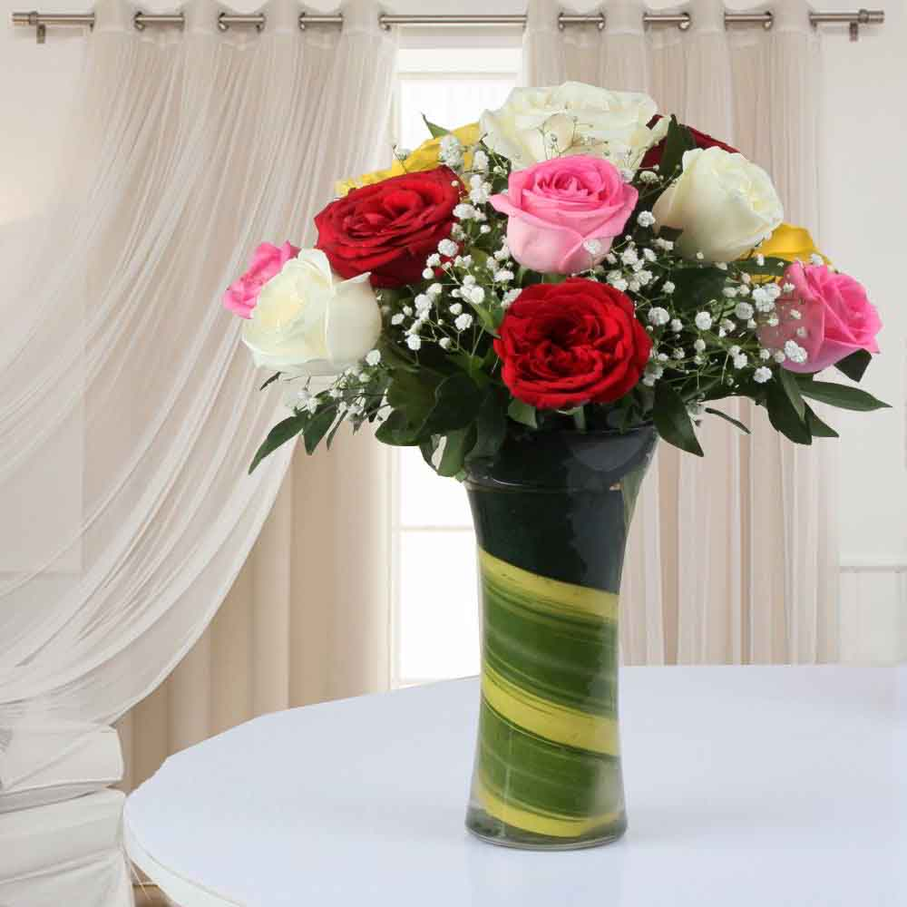 Vase Arrangement of Mixed Roses