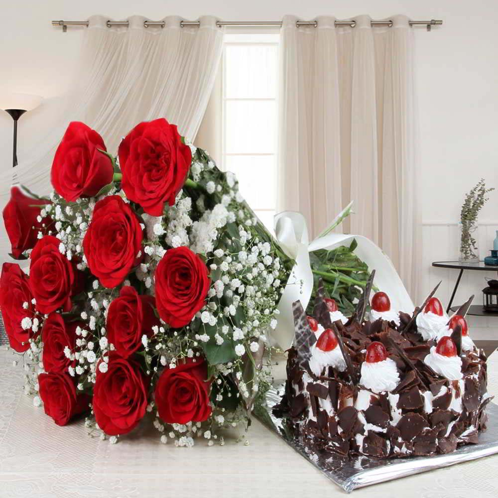 Flowers & Cakes-Black Forest Cake and Red Roses Bouquet