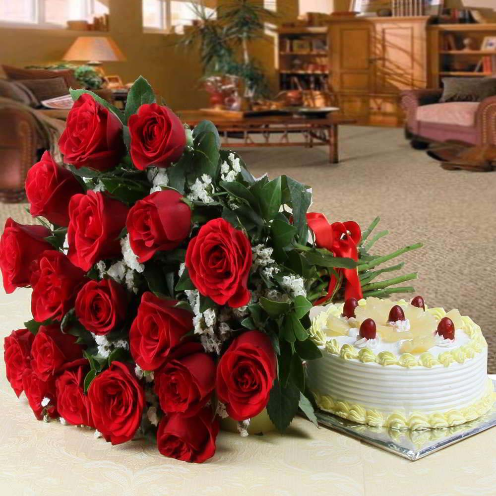 Flowers & Cakes-Hamper of Red Roses with Pineapple Cake