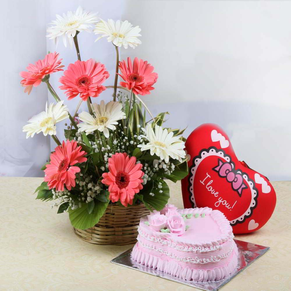 Flowers & Cakes-Arrangement of Gerberas with Heart Cushion and Strawberry Cake