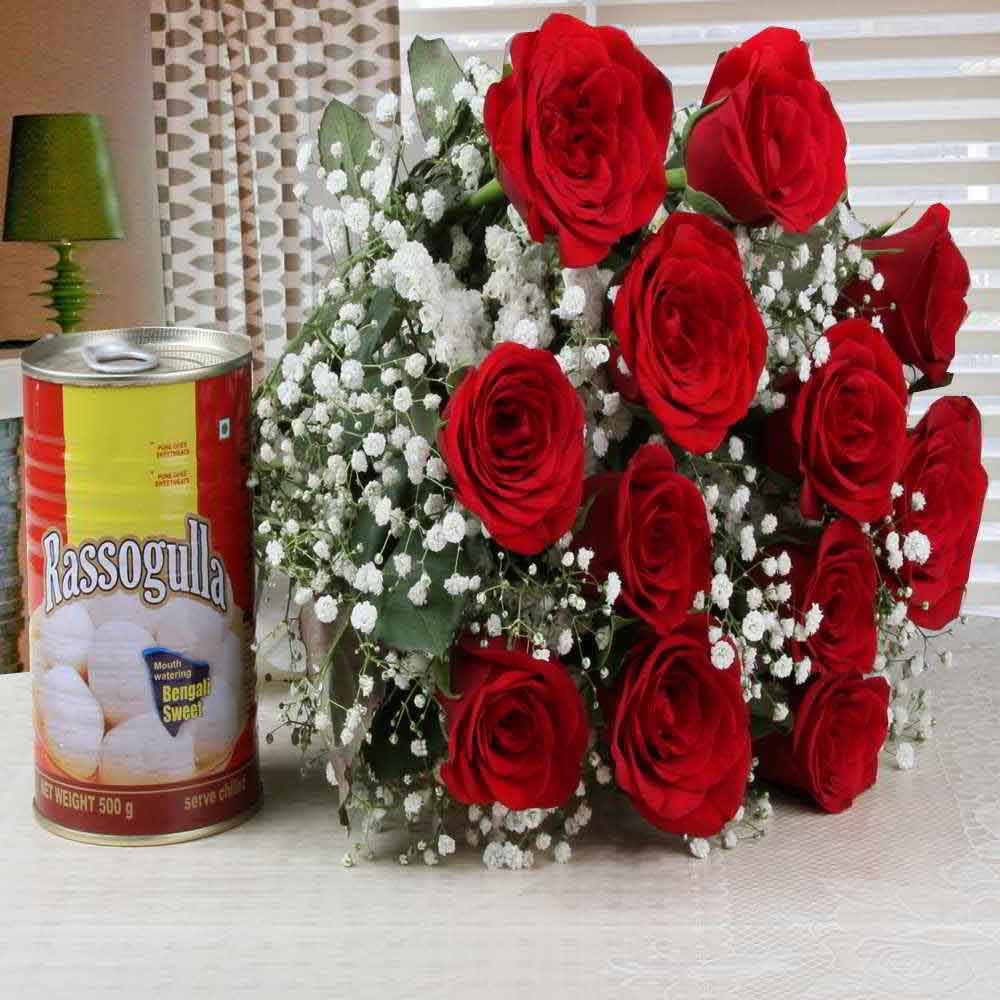 Flowers & Sweets-Charming Red Roses Bouquet with Rasgulla Combo