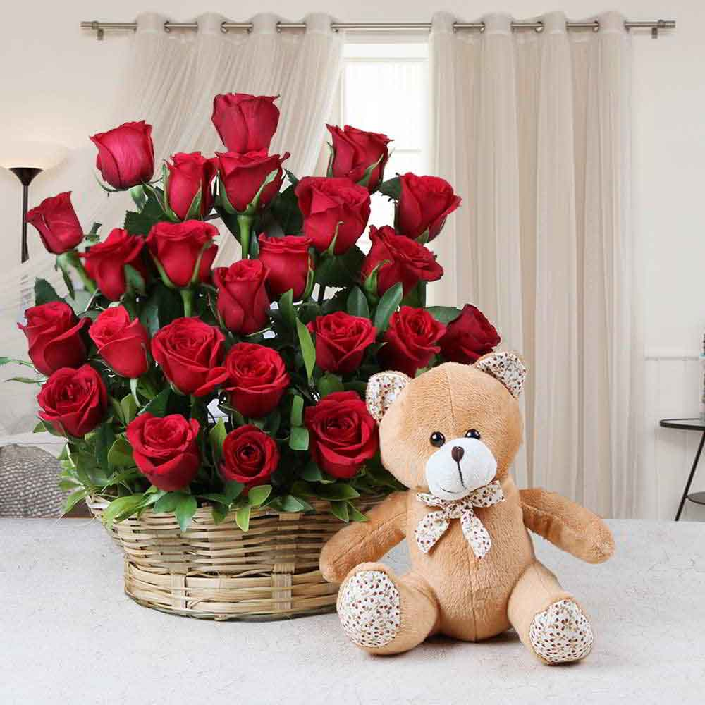 Soft Toy Hampers-Basket Arrangement of Red Roses with Teddy Bear