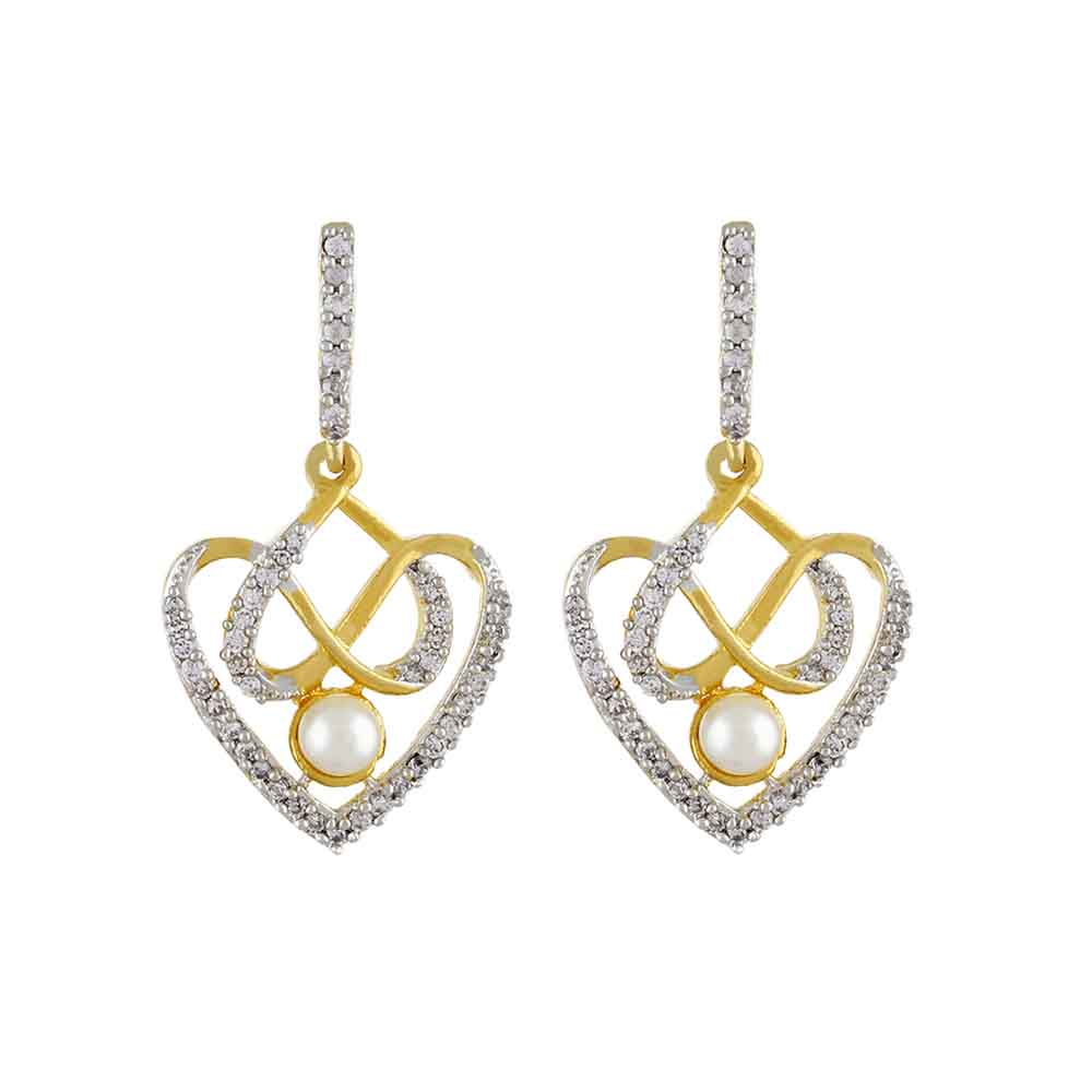 Jewelry-Dual Heart Cz Earrings