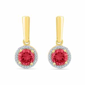 Jewelry-Real Ruby With Diamond Earrings