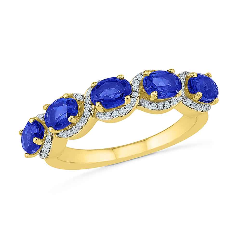 Jewelry-Blue Sapphire With Diamonds Finger Ring