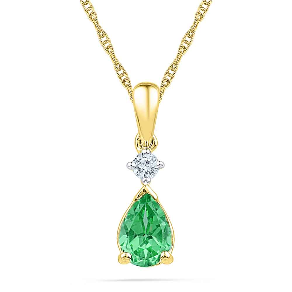 Jewelry-Emerald With Diamond Pendant