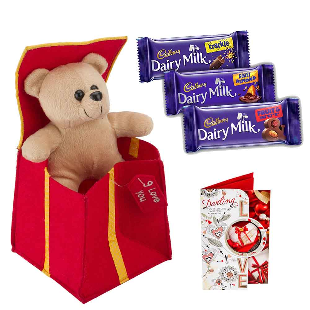 Sweet Nothings-Set of 3 Cadburys chocolates with Stuffed Plush Heart