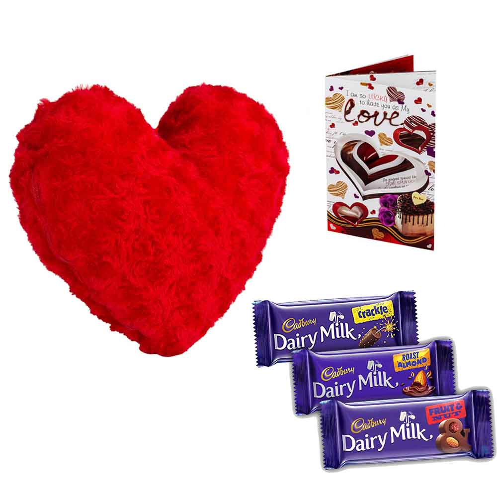 Sweet Nothings-Set of 3 Cadburys chocolates with stuffed Velvety Heart