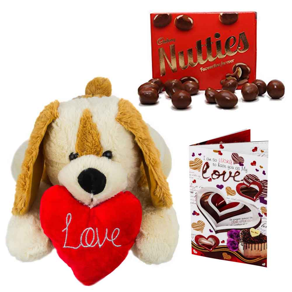 Sweet Nothings-Cadburys Nutties with Cuddly Dog holding heart
