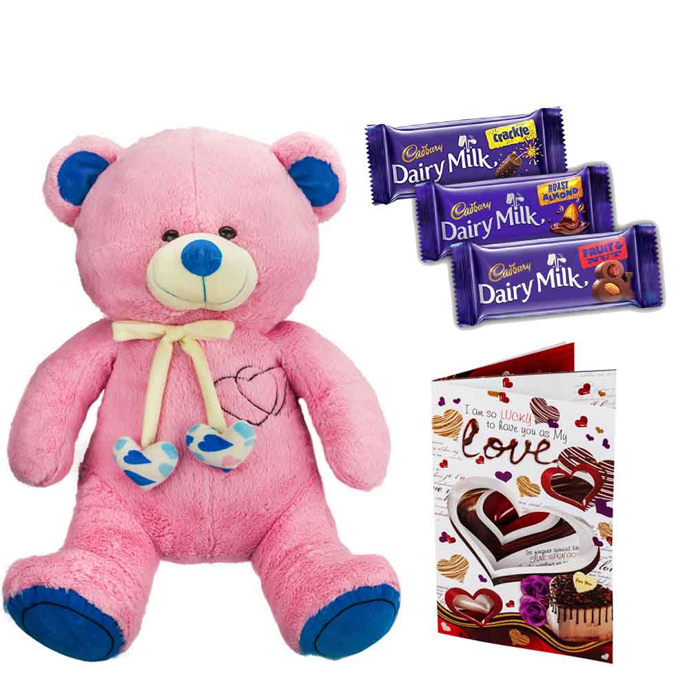 Sweet Nothings-Cadburys Chocolates with Cuddly Grand Pink & Blue Bear