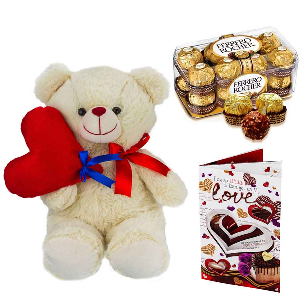 Sweet Nothings-Ferero Rocher with Cuddly Bear holding Heart