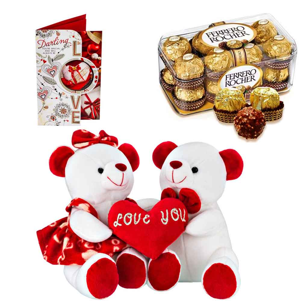 Sweet Nothings-Ferero Rocher with Cuddly Teddy Pair with Heart