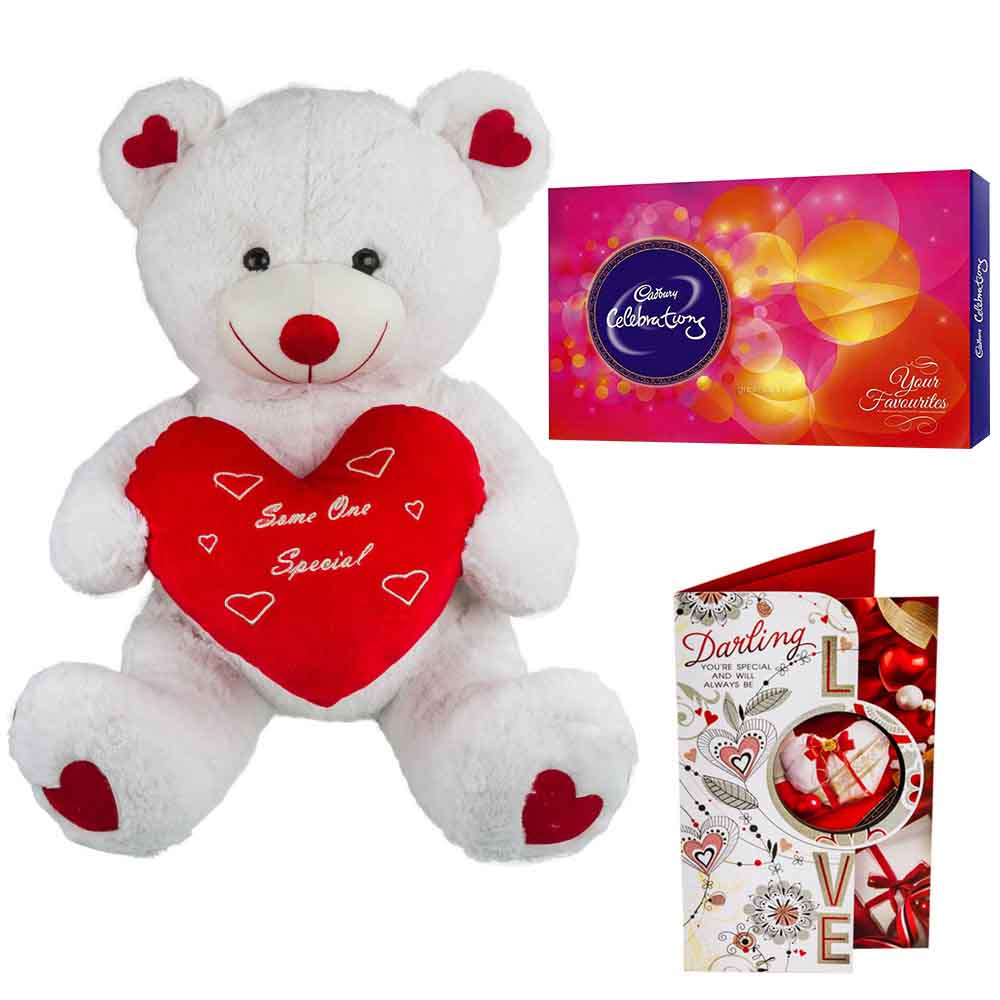 Sweet Nothings-Cadburys Celebrations with Cuddly White & Red Bear holding Heart