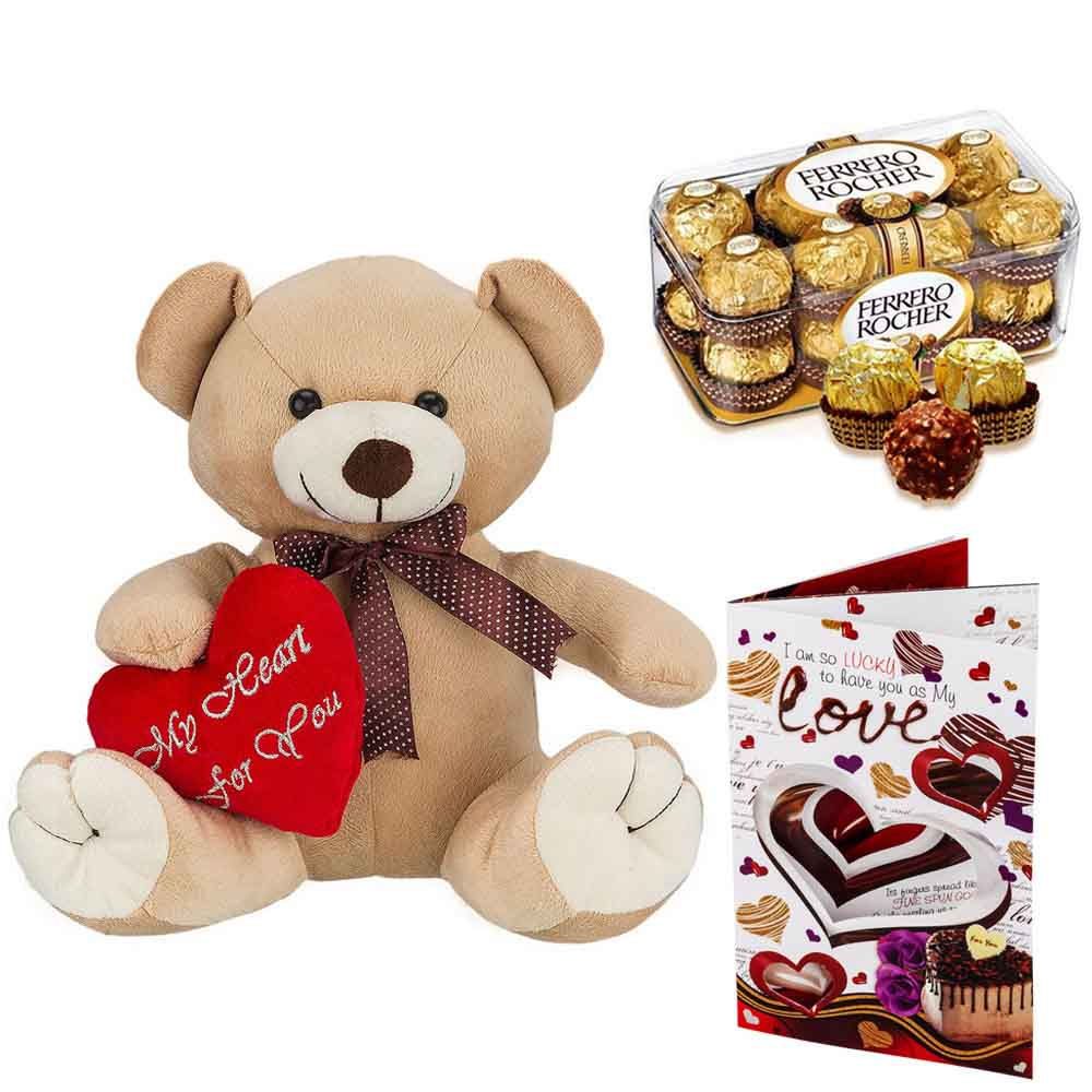 Sweet Nothings-Ferero Rocher with Cuddly Brown Bear with Heart on Sleeve
