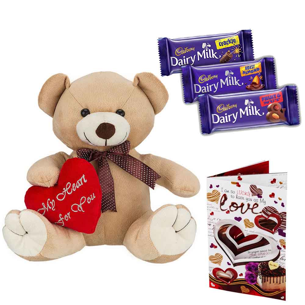 Sweet Nothings-Cadburys Chocolates with Cuddly Brown Bear with Heart on Sleeve
