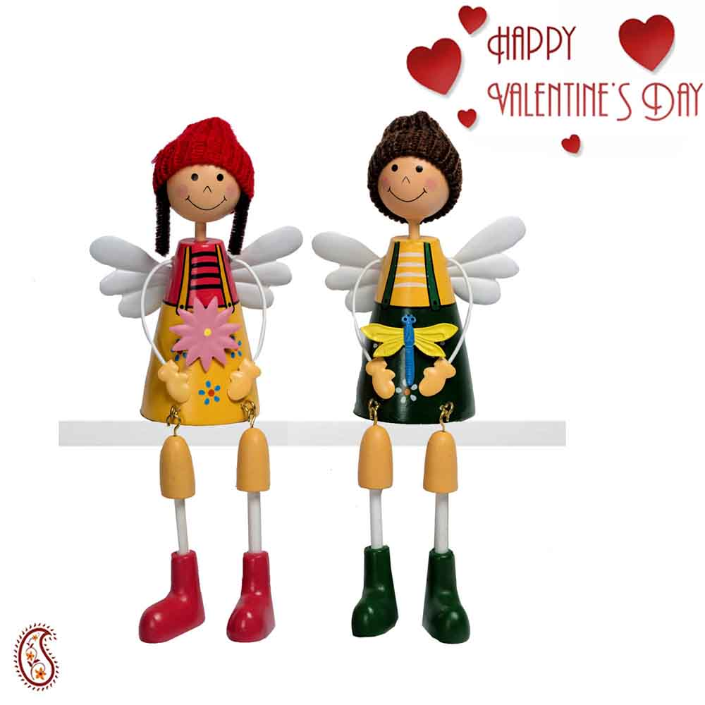 Adorable Multicolor Twin Dolls with Valentine's Card