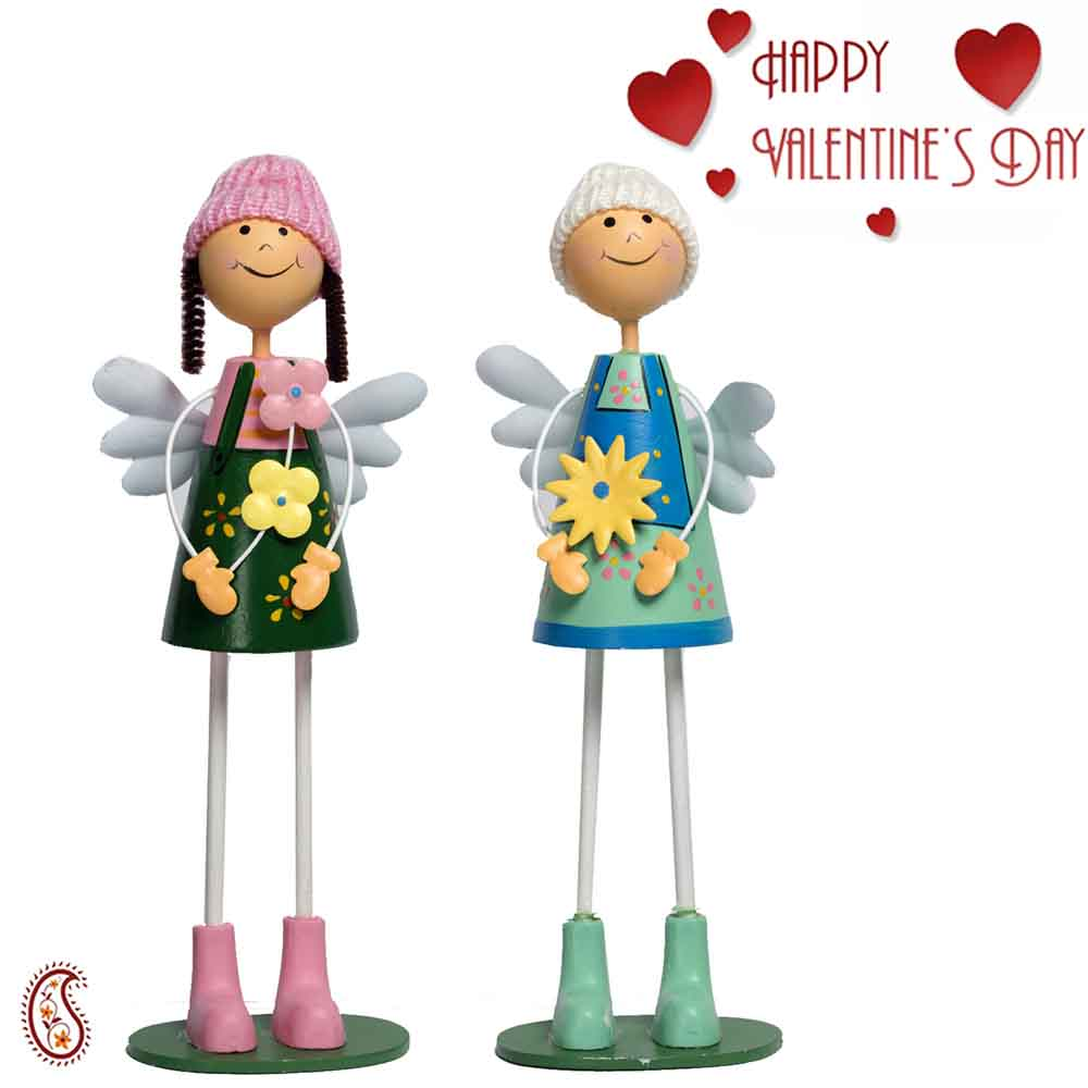 Valentine Hampers-Green & Blue Adorable Pair of Dolls with Valentine's Card