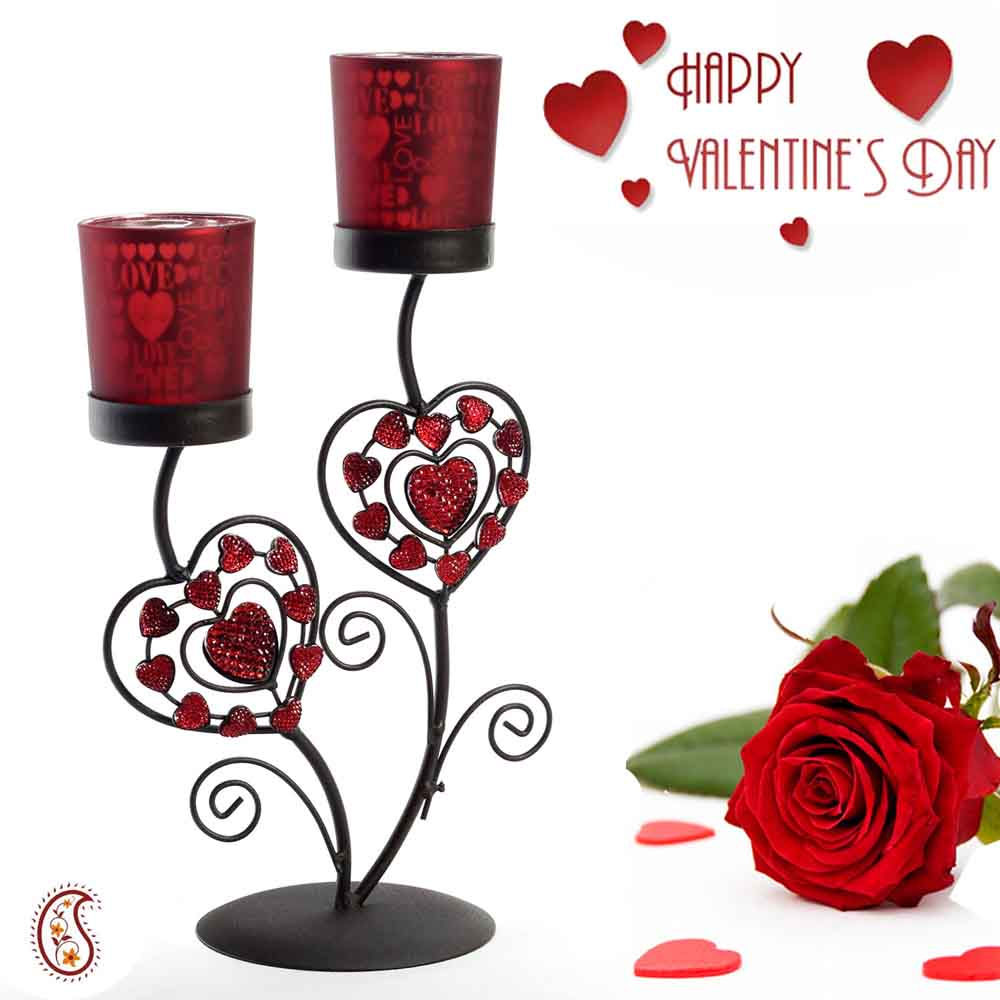 Valentine Hampers-Beautiful Valentine Candleabra and Candle Holder with Free Artificial Rose