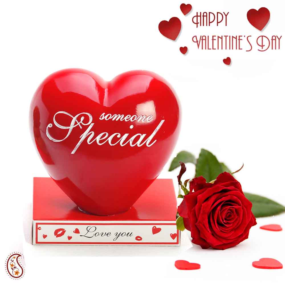 Someone Special Red Ceramic Heart Piggy Bank with Free Artificial Rose