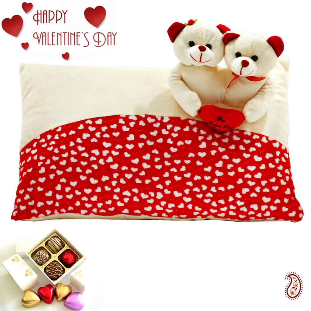 Beautiful Heart Print Pillow with Twin Teddy