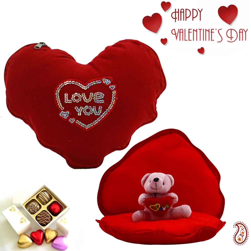 Valentine Hampers-Lovable Heart Shape Cushion with Inside Teddy