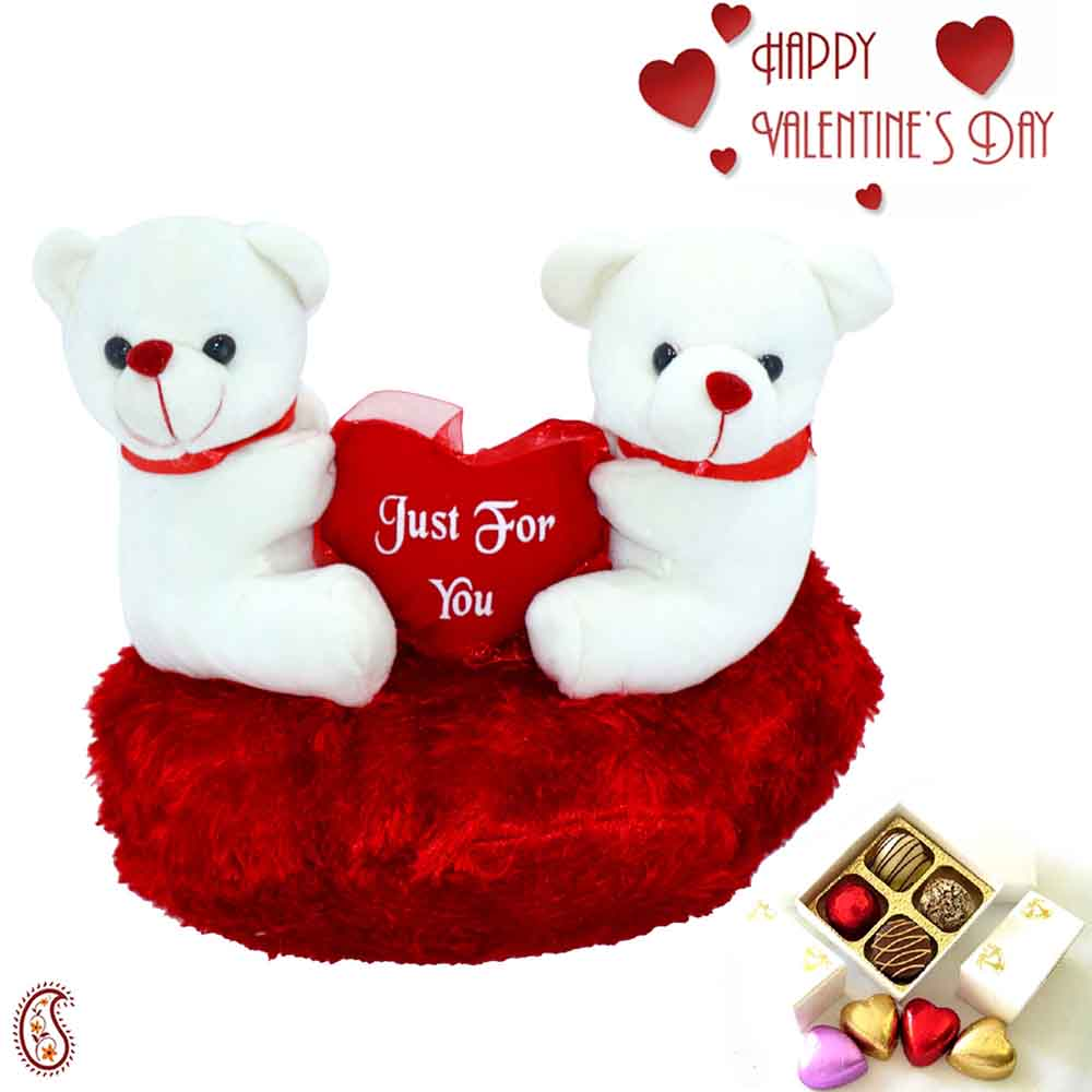Valentine Hampers-Lovely Twin Teddy with Just for You Message