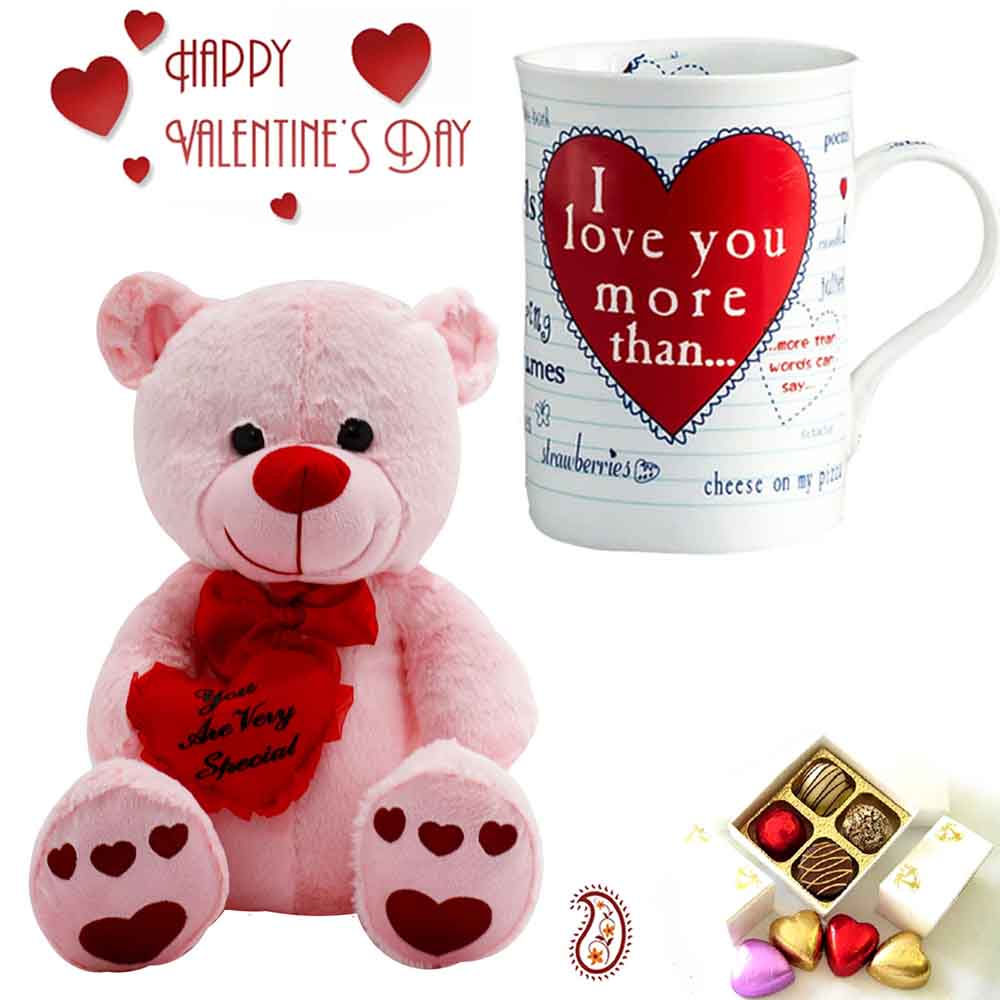 Valentine Hampers-Beautiful White & Pink Teddy & Mug with You are very Special Message