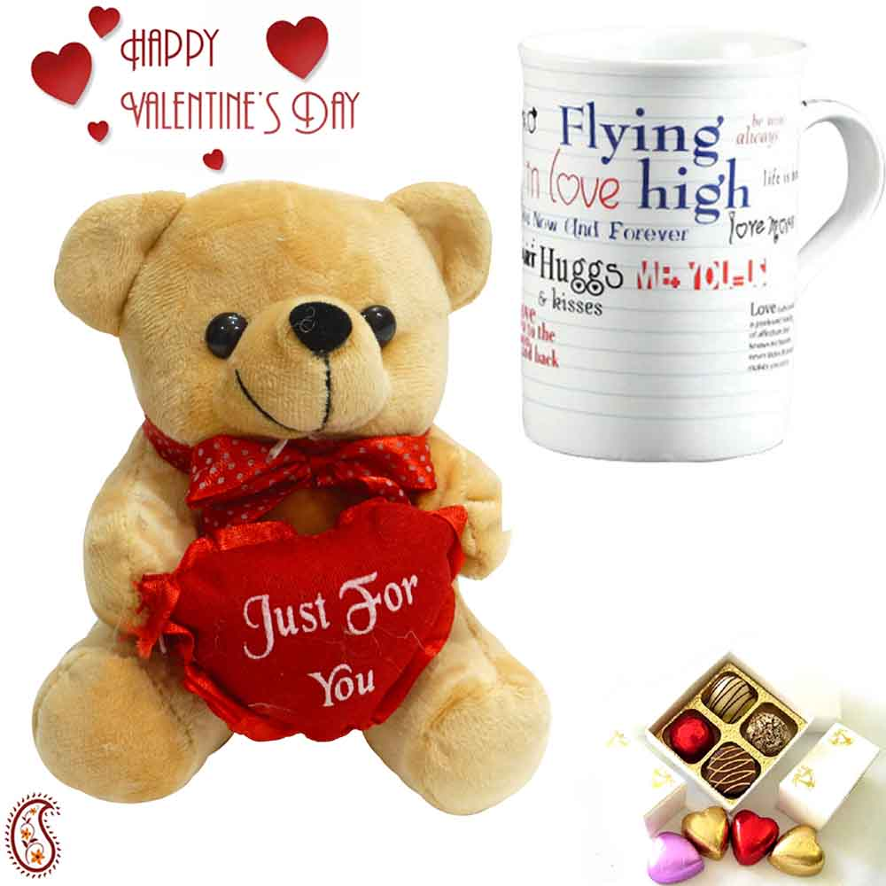 Lovely White & Brown Teddy & Mug with Just for You Message