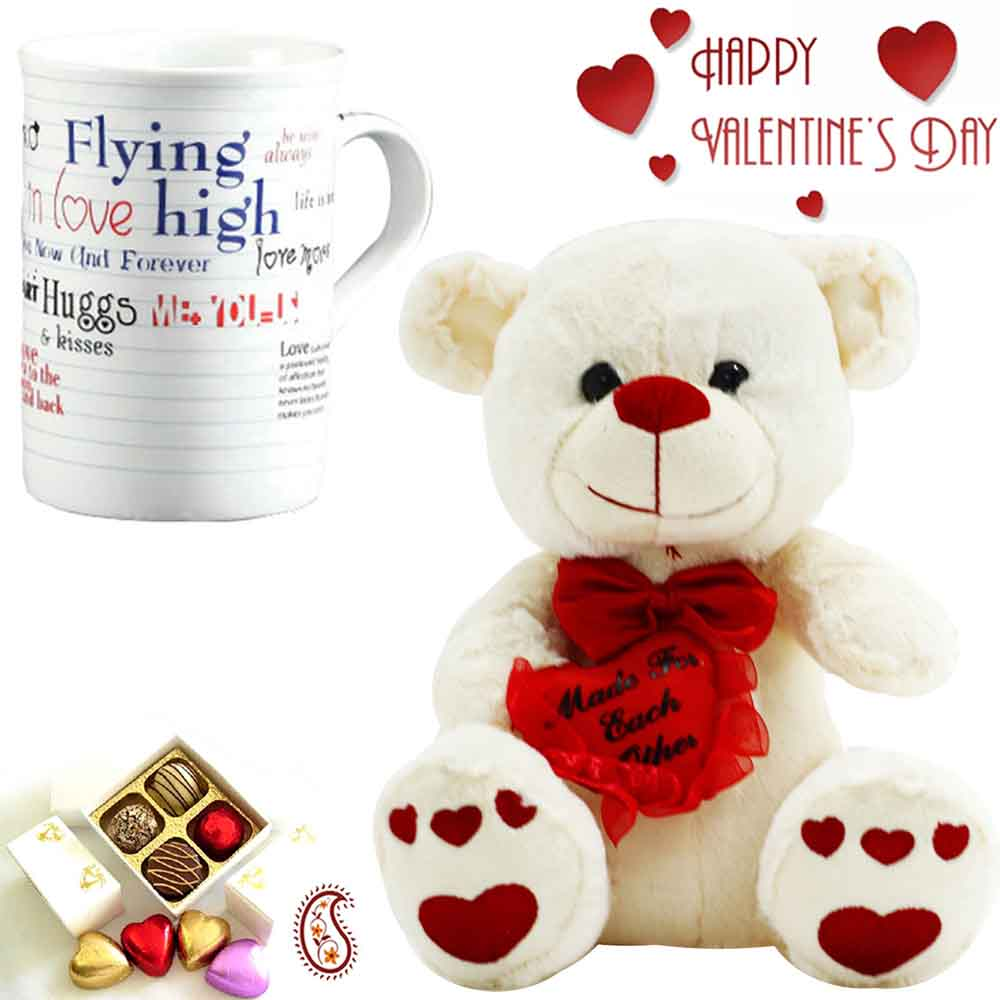 Cute Teddy & Mug with Made for Each Other Message