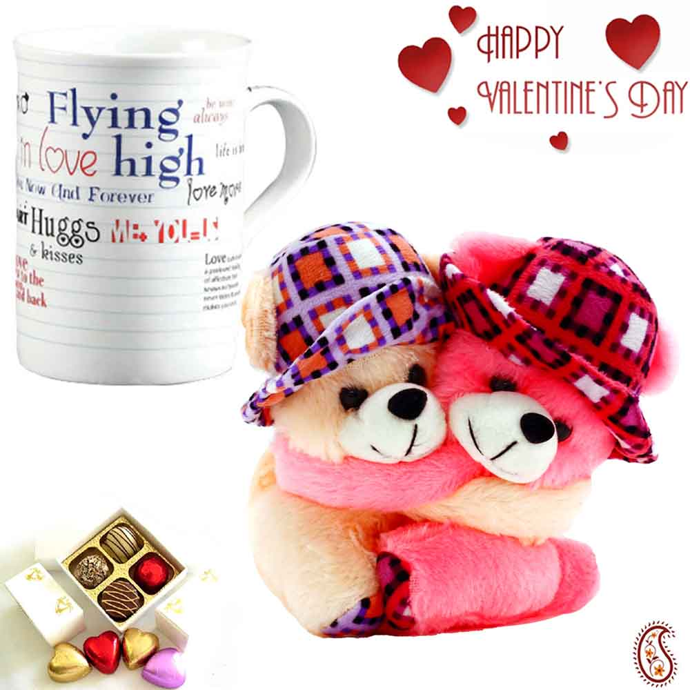 Valentine Hampers-Sweet Twin Teddy & Love Message Mug