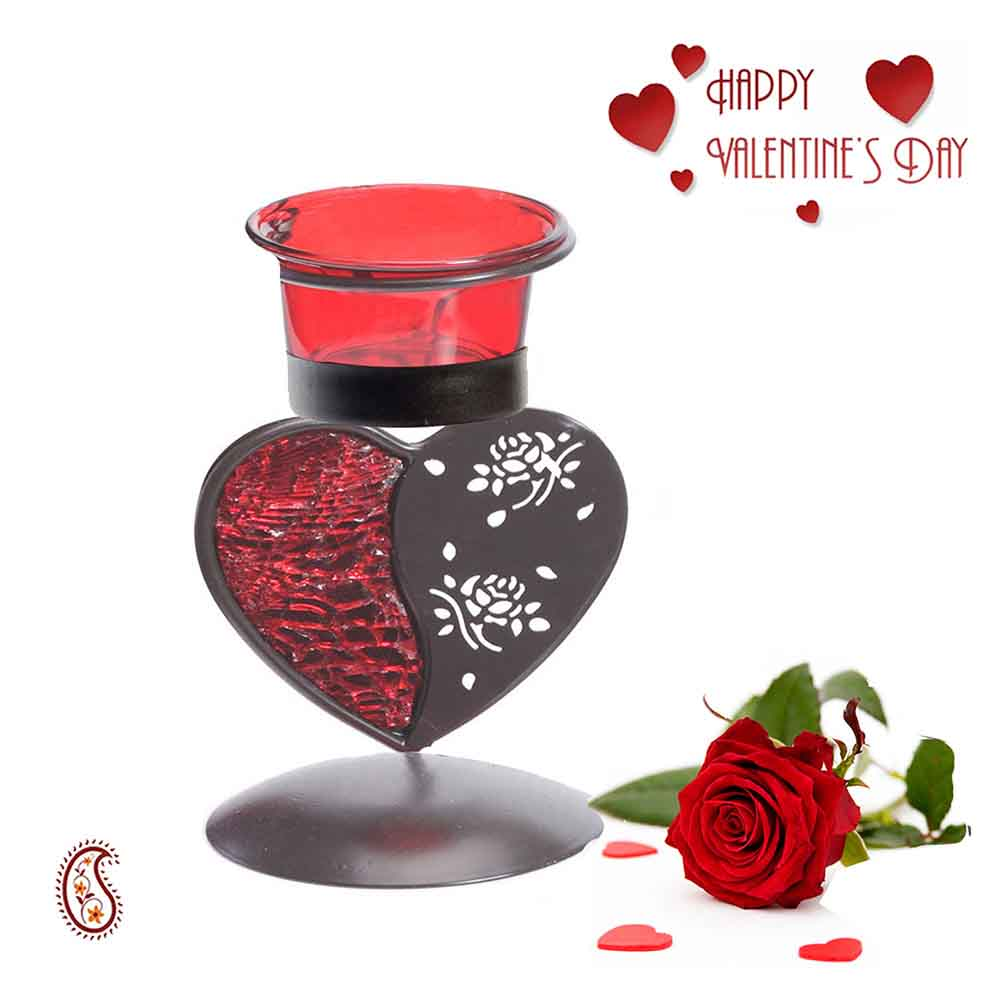 Charming Red & Smoky Heart Shape Candle Stand with Free Artificial Rose.