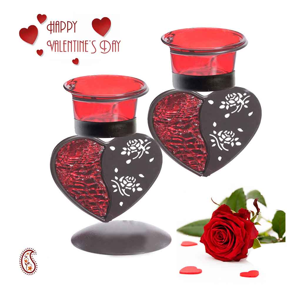 Heart Shape Beautiful Candle Stand with Free Valentine's Card.