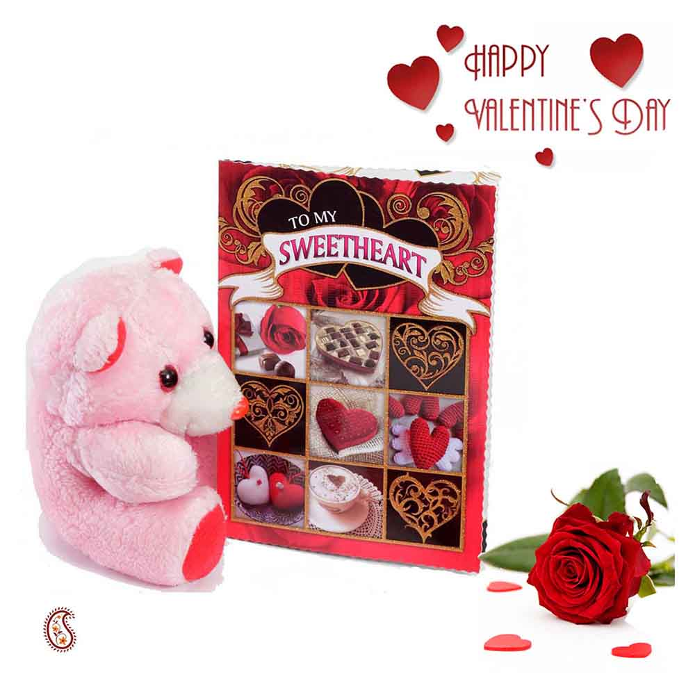 Cute Light Pink Teddy & Valentine's Card with Free Rose.