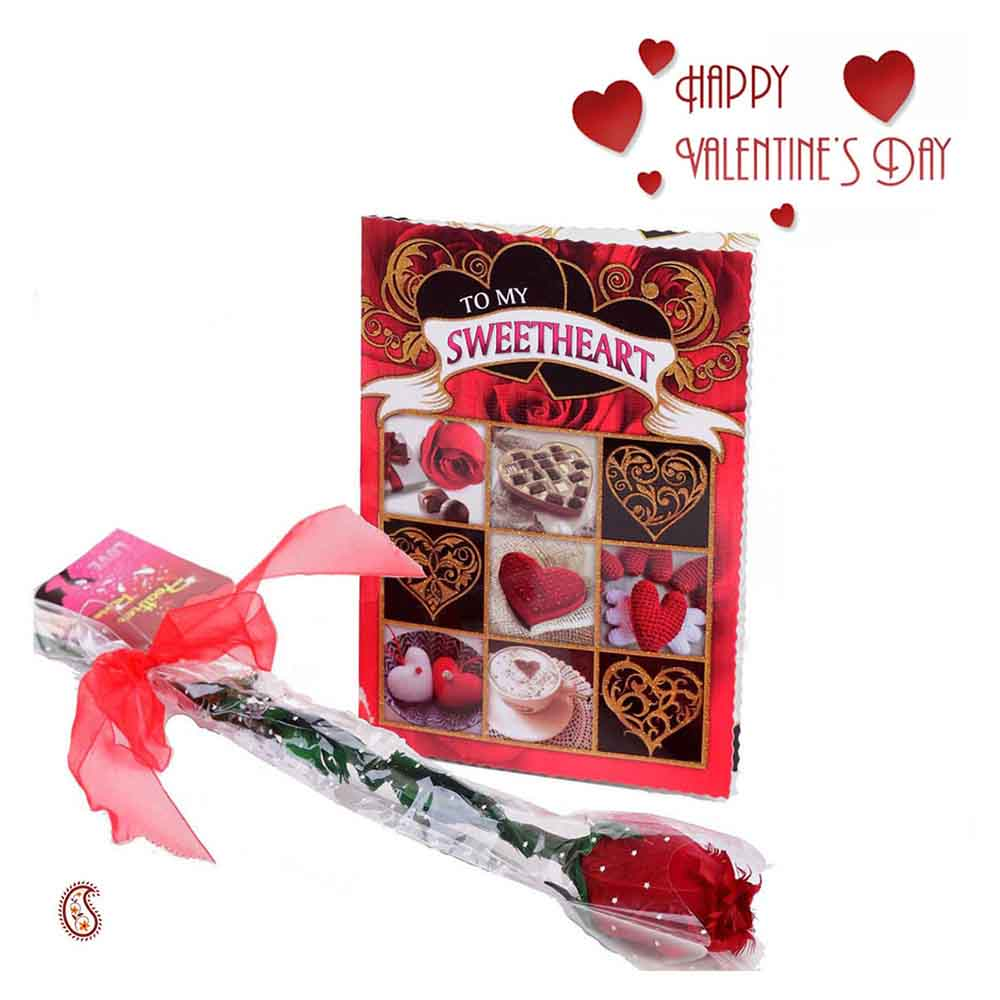 Lovable & Heart Expressive Valentine's Card with Free Rose.