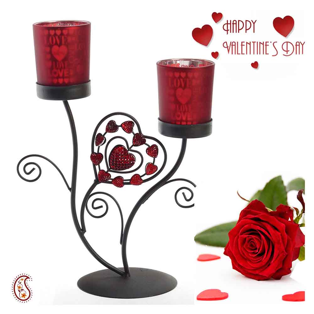 Love Fetched Frosted Glass Valentine Candle Holder with Free Artificial Rose.