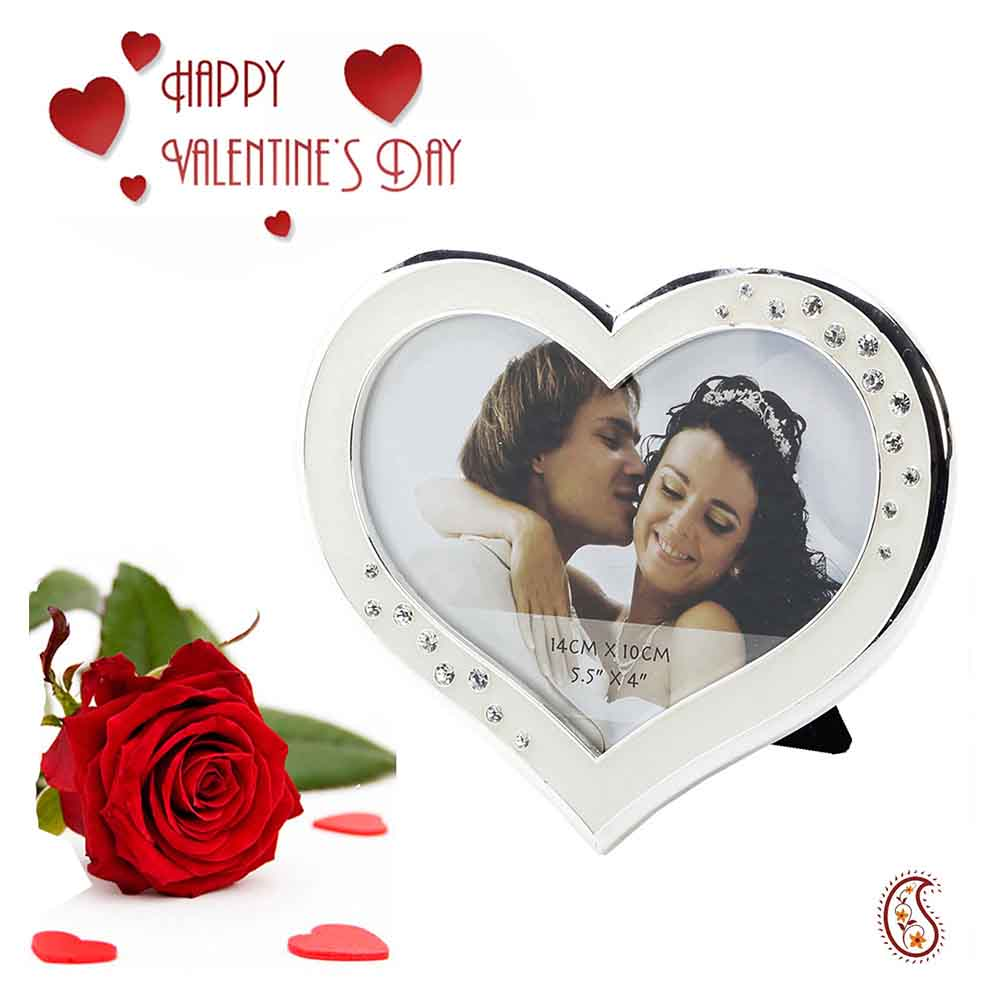 Engraved Heart Shaped Silver finished Picture Frame with Free Artificial Rose.