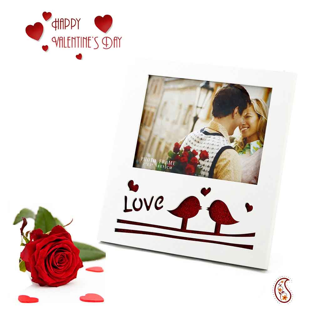 Love Birds Lacquer Finished Picture Frame with Free Artificial Rose.