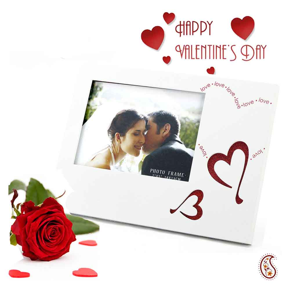 Love and Heart Engraved Lacquer finished Photo Frame with Free Artificial Rose.