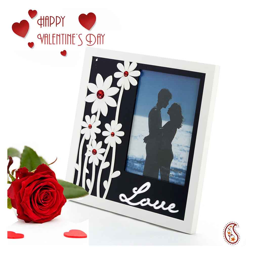 Floral and Love Reflective Glass Photo Frame with Free Artificial Rose.