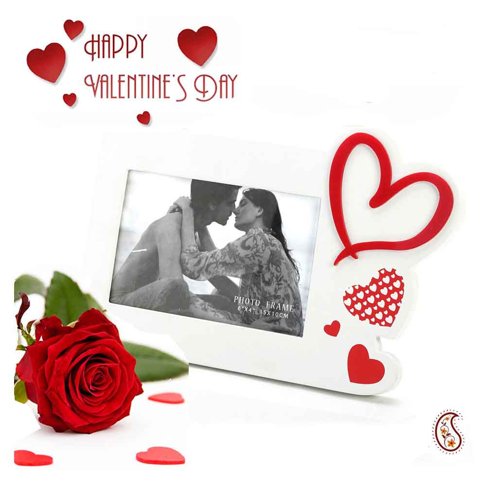 Red Hearts & Lacquer finished Photo Frame with Free Artificial Rose.