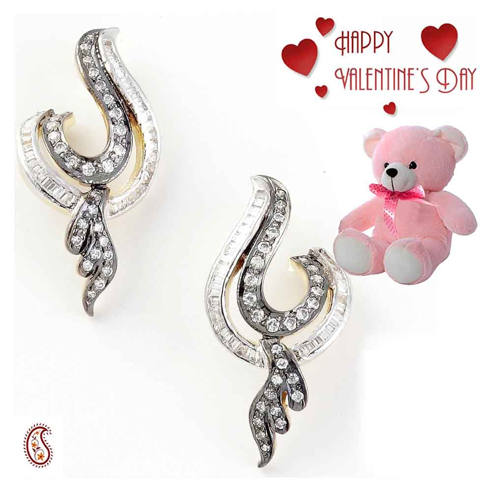 Oxidized Earring Set with Free Teddy & Valentine's Card.