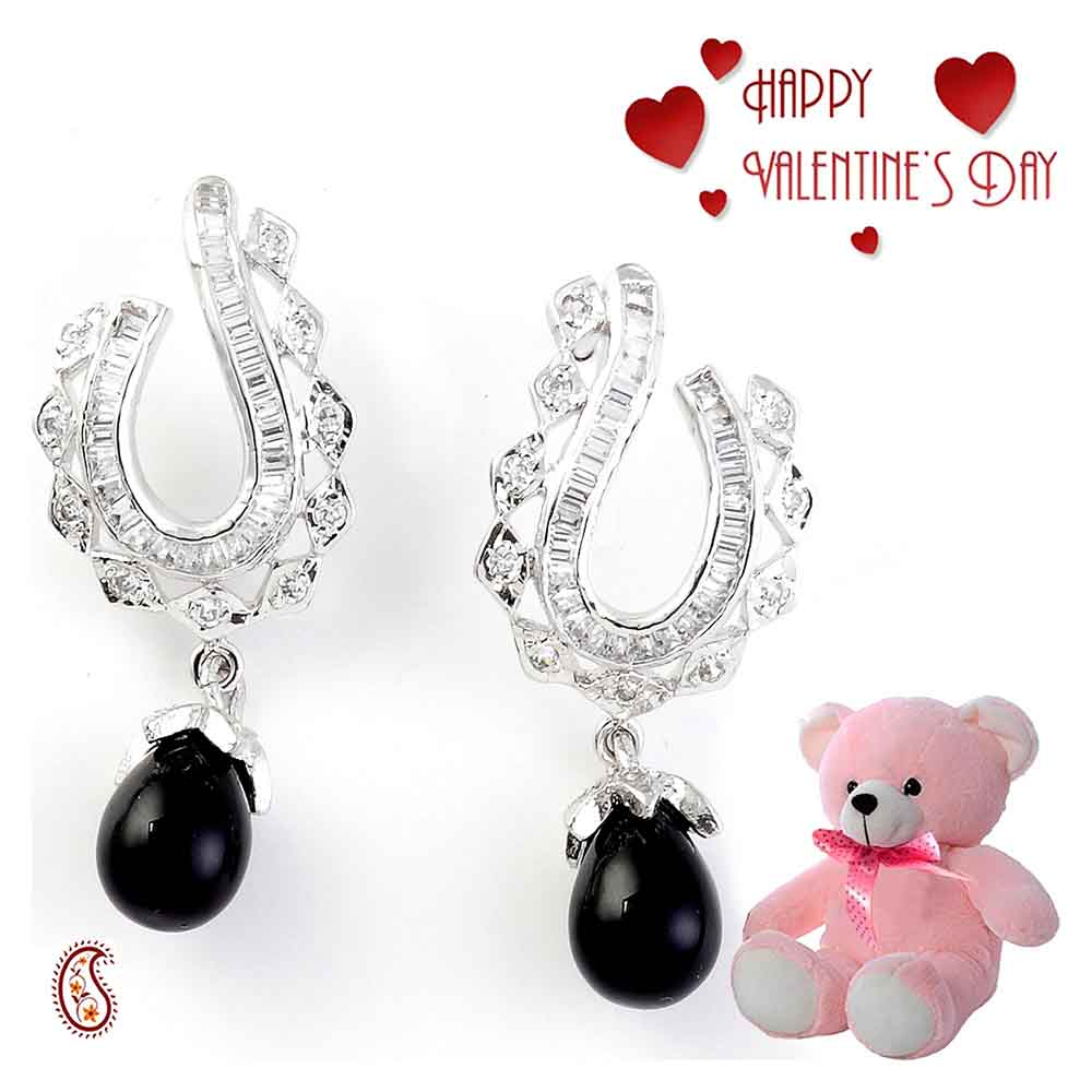 Stylish Earring Set with Free Teddy & Valentine's Card.