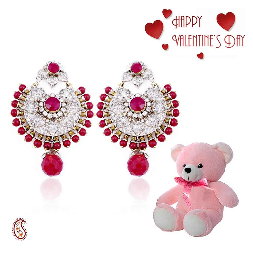 Ruby Beads Chand Bali with Free Teddy & Valentine's Card.