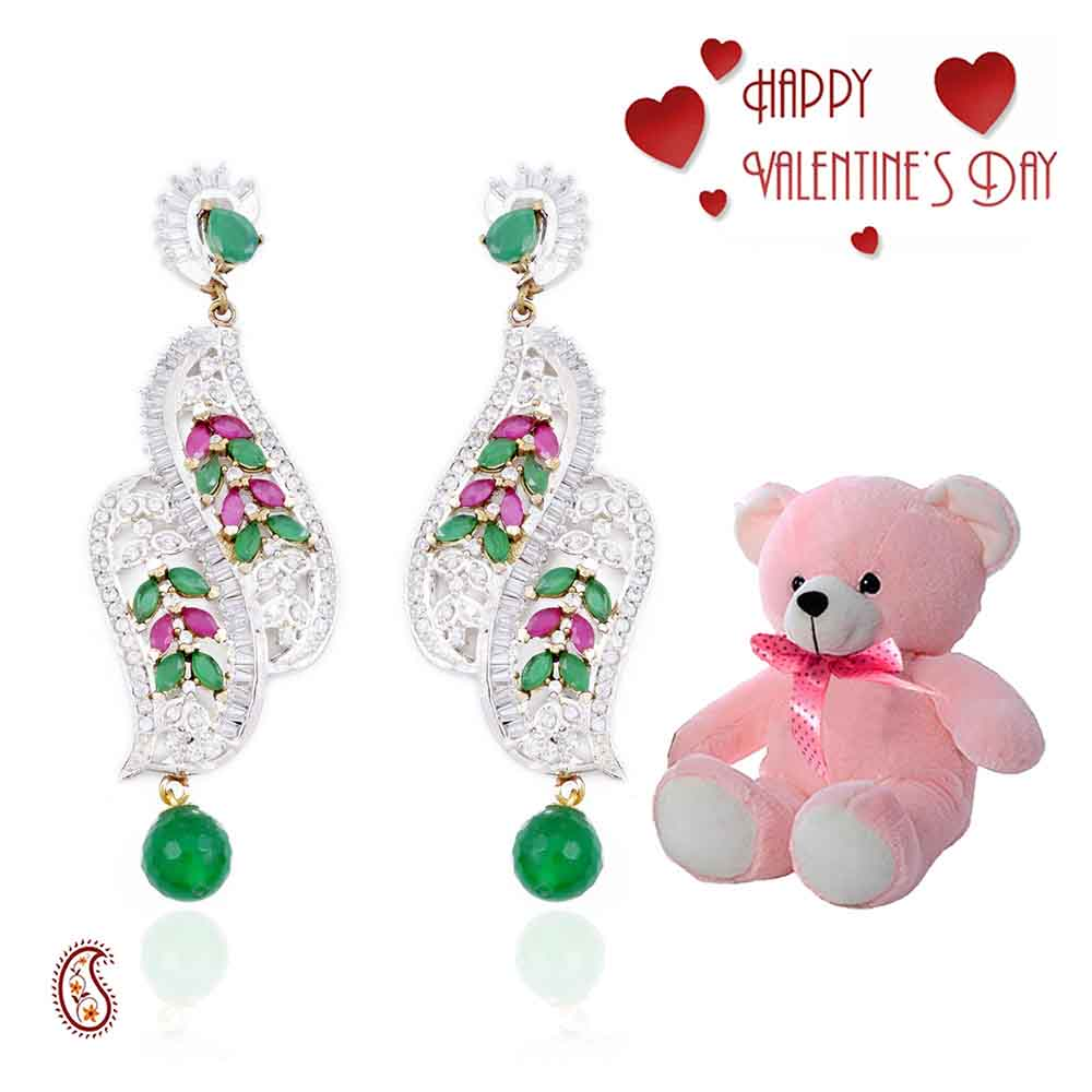Chandelier Earrings with CZ, Rubies & Free Teddy & Valentine's Card.