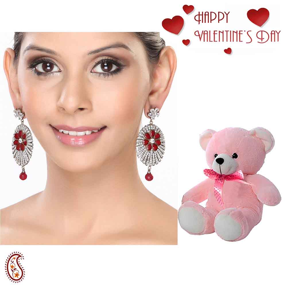 Channel set CZ and Rubies Dangler Earrings with Free Teddy & Valentine's Card.
