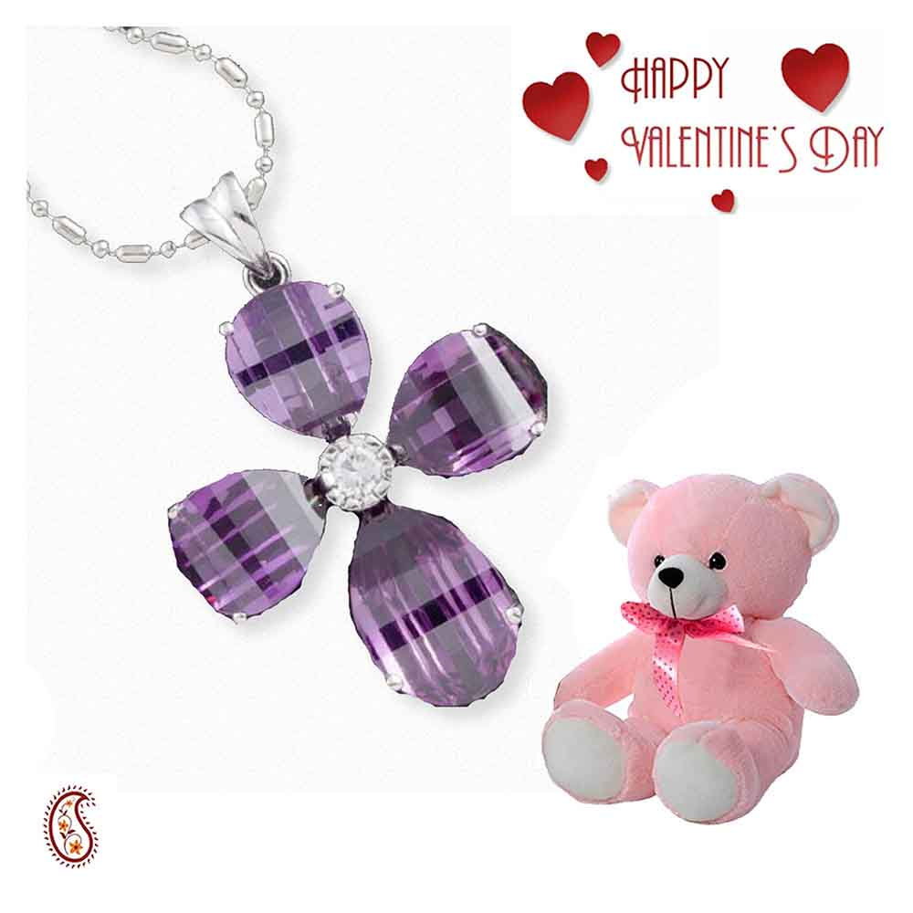 Flower shape silver CZ Pendant with Free Teddy & Valentine's Card.