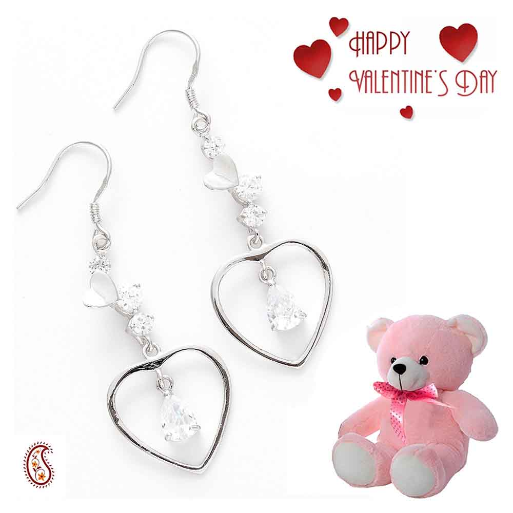 Heart Drop CZ Hoop Earrings with Free Teddy & Valentine's Card.