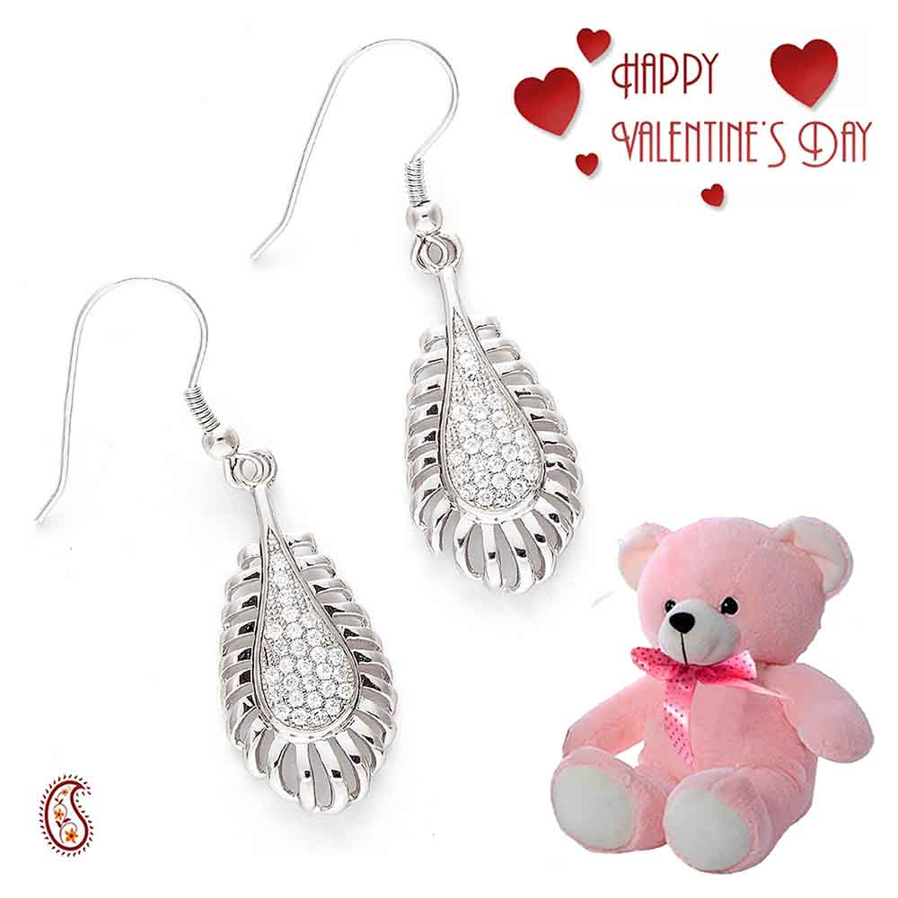 Tear Drop White CZ Hoop Earrings with Free Teddy & Valentine's Card.