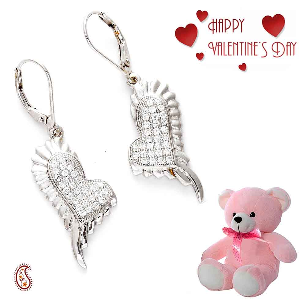 White CZ & Silver Earrings with Free Teddy & Valentine's Card.