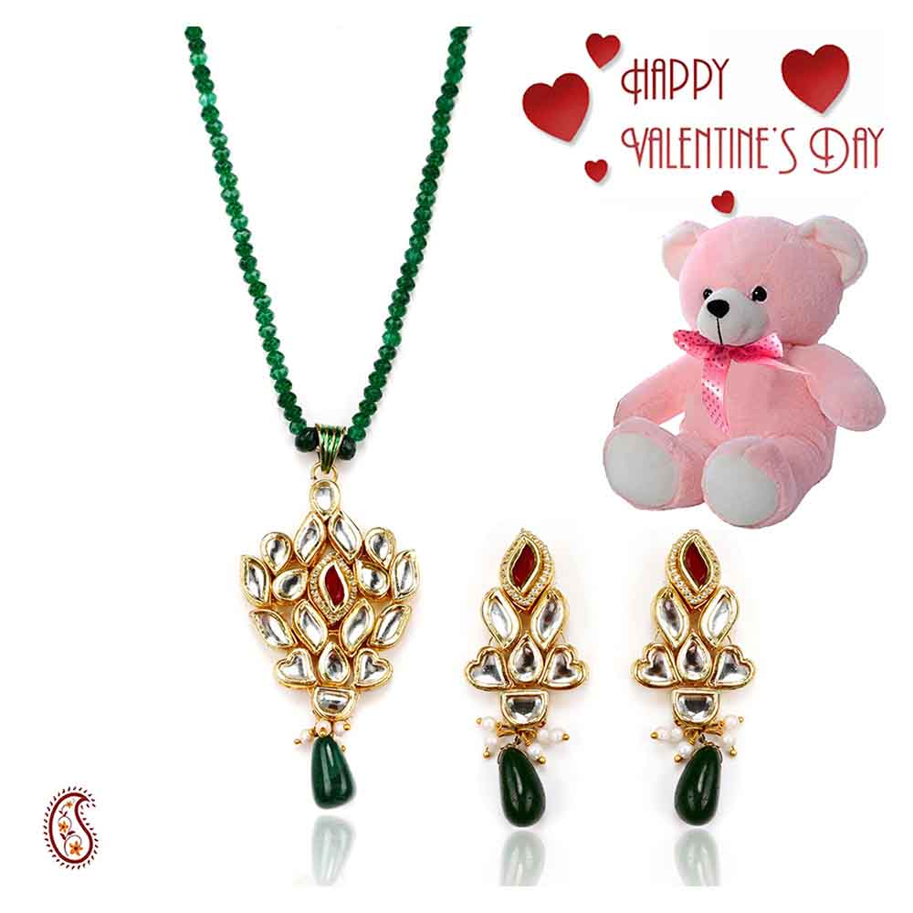 White Kundans , Onyx & Emerald Pendant Set with Free Teddy & Valentine's Card.